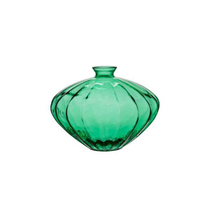 jarrón cristal verde