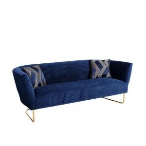 sofa terciopelo azul pata dorada