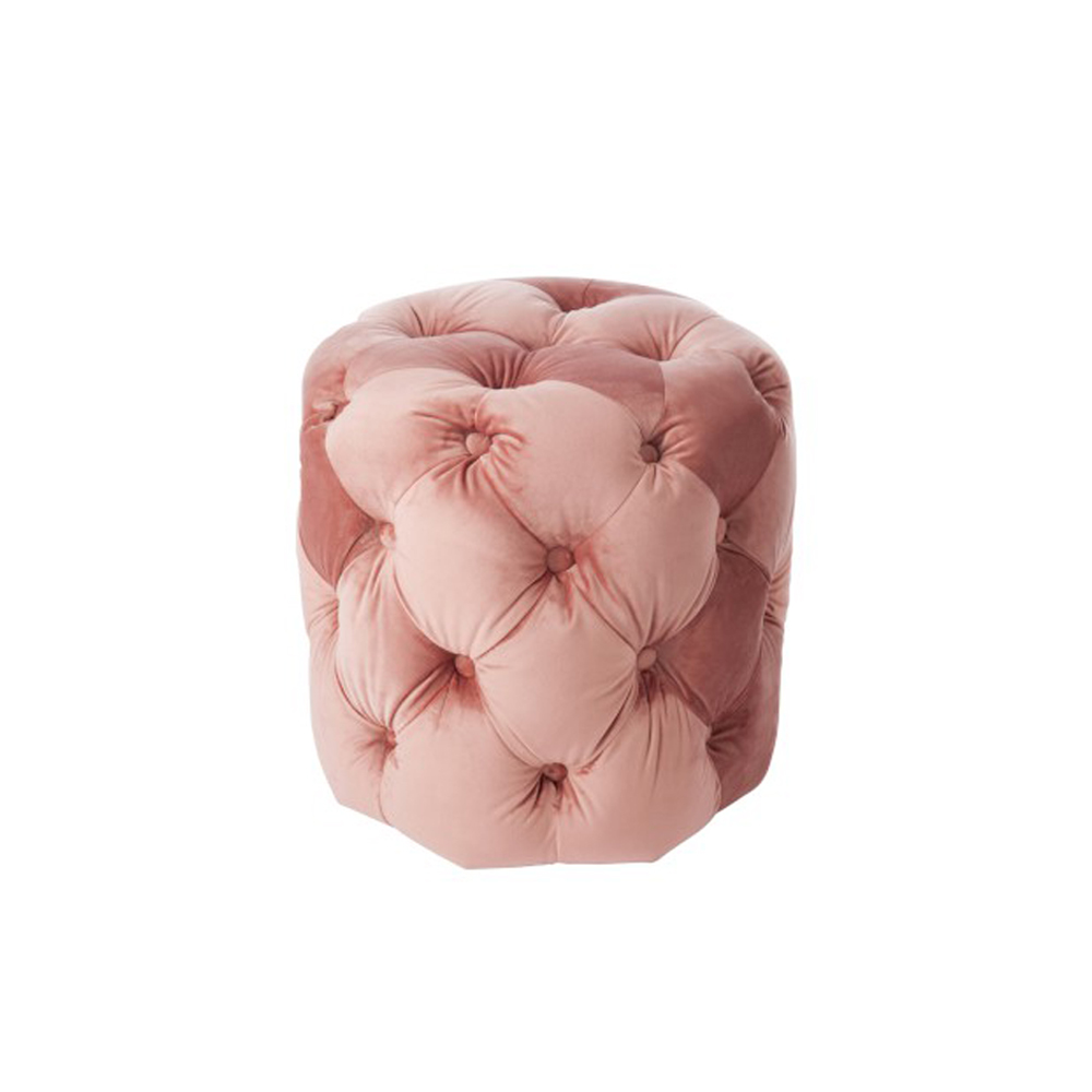 puf botones terciopelo rosa