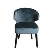silla terciopelo azul respaldo curvo