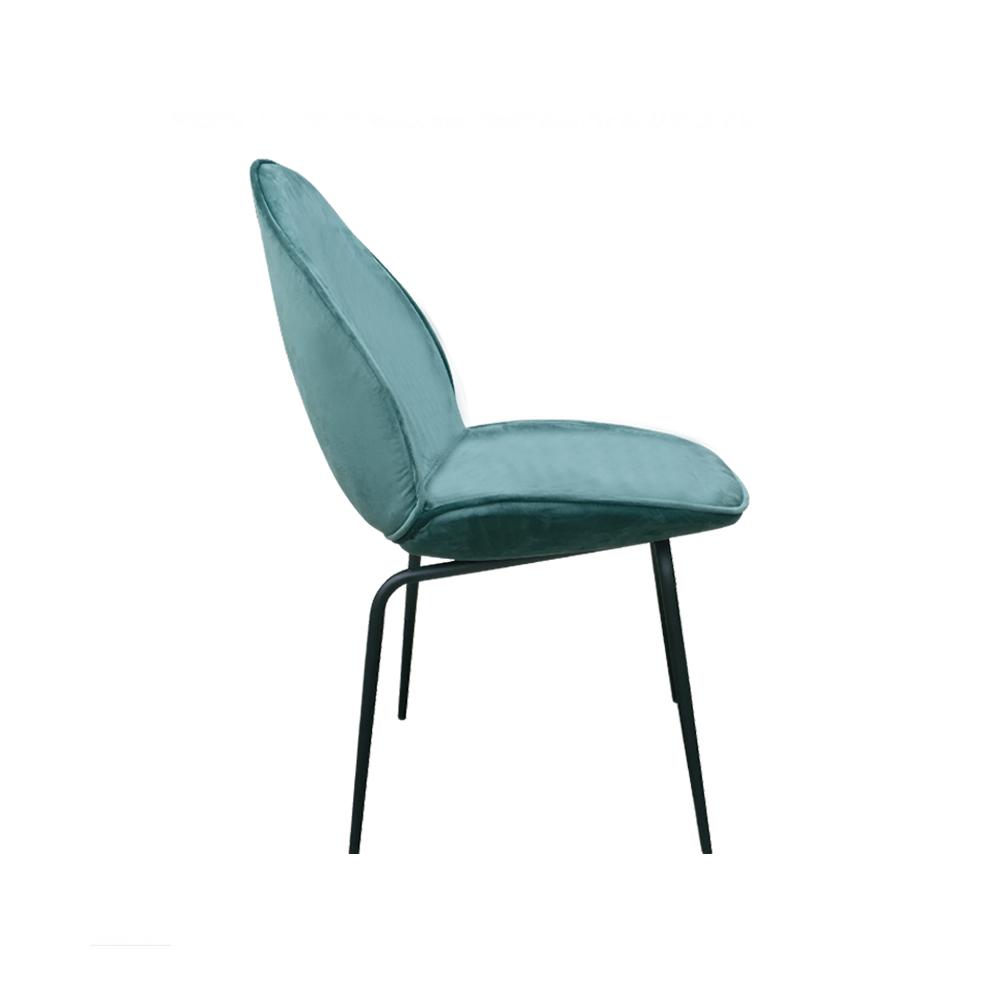 silla terciopelo verde pata negra metal