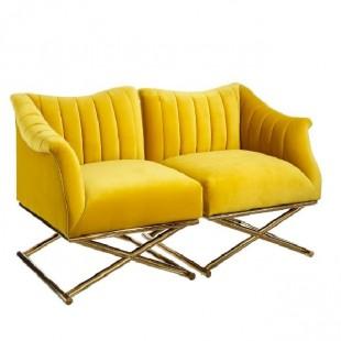 sillón tericopelo dorado