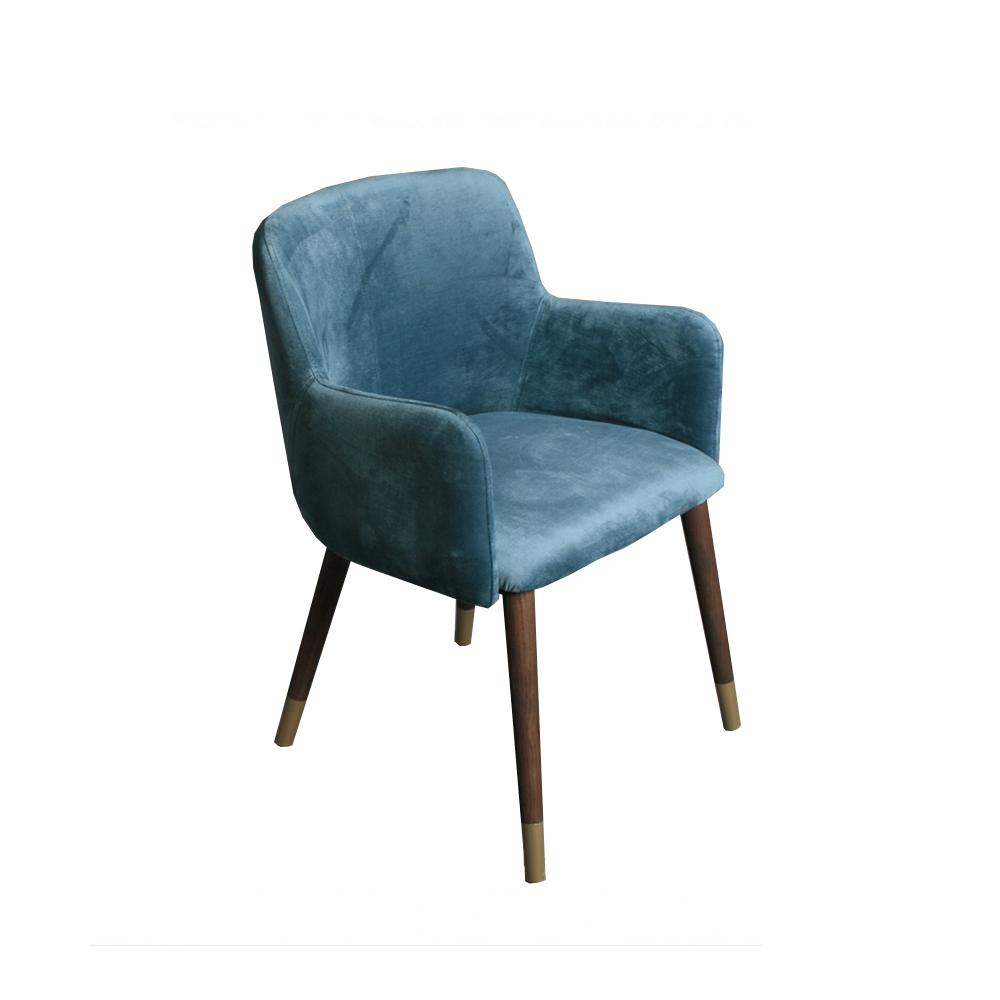 silla terciopelo azul pata madera