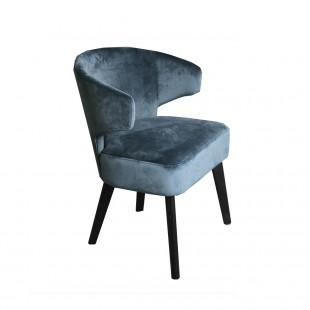 silla terciopelo azul pata oscura
